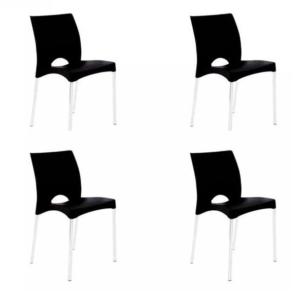 Kit 4 Cadeira Boston Pés Alumínio Preto