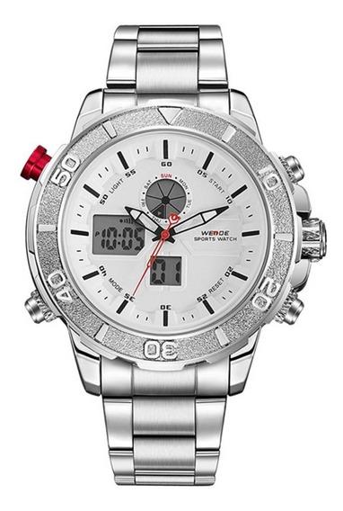Relógio Masculino Weide Anadigi Wh-6108 Branco Original