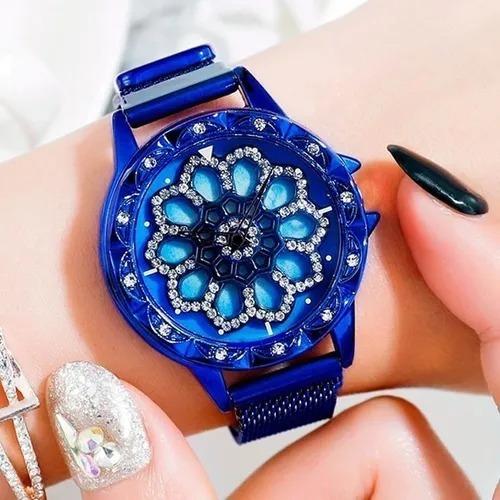 Relógio Importado Crystal Spinner Azul (preço De Revenda)