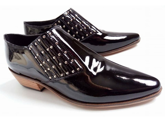 Chatas Slipper Zapatos Texanas De Cuero Charol Micro Tachas