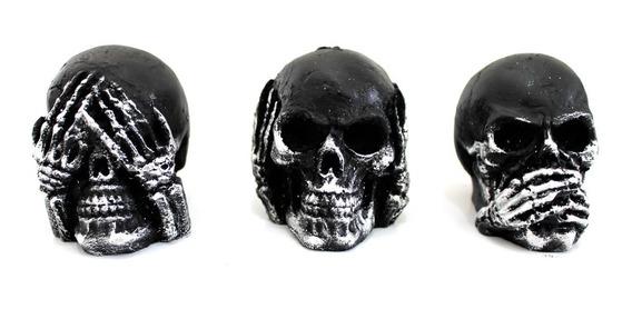 Trio De Cranio Prata Caveira Resina Cego Surdo Mudo Enfeites