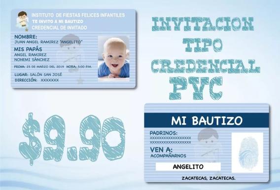 Invitacion Credencial Pvc Para Bautizo