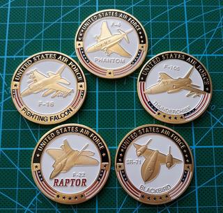 Monedas Militares, Set 5 Monedas Aviones Militares U S A