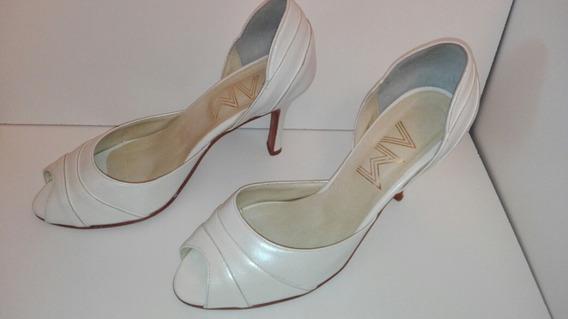 Zapatos Blanco Marfil Cuero Boda Novia