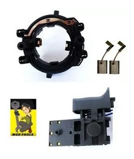 Kit Porta Escovas + Escovas + Interruptor Martelete Hr2470