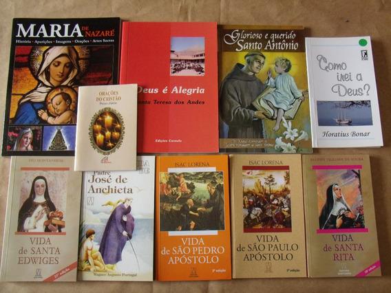 Lote Com 10 Livros Religiosos Vida De Santo / Santa Diversos