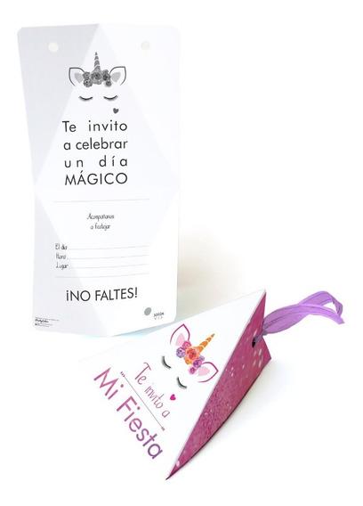 10 Invitaciones Con Listón Unicornio Glitter