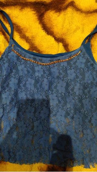 Musculosa De Encaje Azul Francia T Small