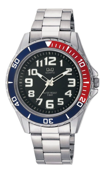 Relógio Q&q Masculino Ref: Q732-205y Esportivo Prateado