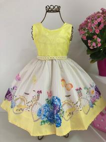 Vestido Princesa Amarelo Bicicleta Festas E Aniversários