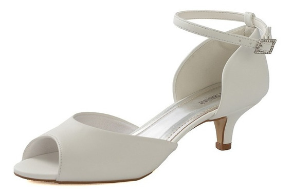 Sandália De Salto Baixo Para Noivas - 1300/561 Branco