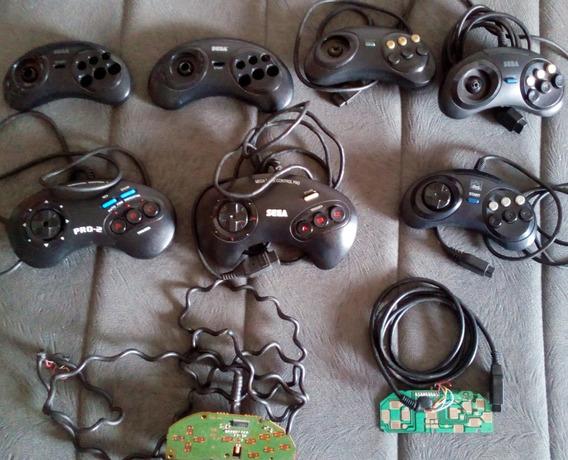 Lote Controles Mega Drive + Carcaças + Placas Com Defeitos