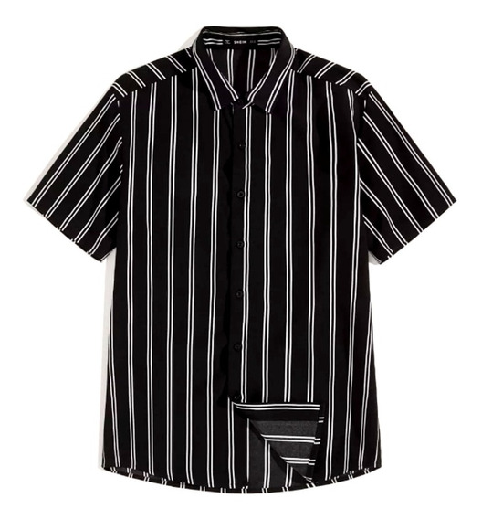Camisa De Manga Corta De Rayas Verticales Color Negro