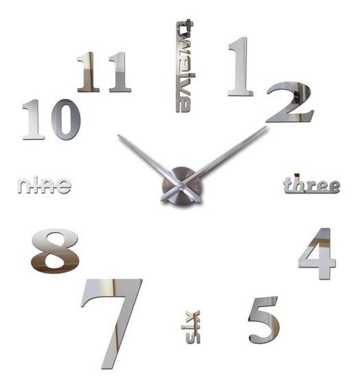 Reloj De Pared 3d Gigante Diy Moda Minimalista Plateado