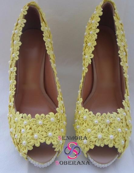 Sapato Peep Toe Florado Amarelo (grandes Eventos)(exclusivo)