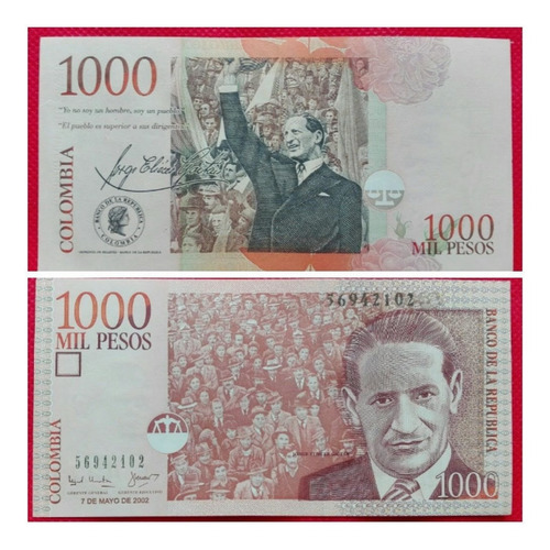 Imagen 1 de 1 de Billete 1000 Pesos Formato Grande, 2002.