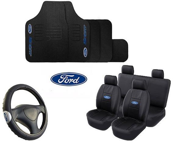 Kit Capa Banco Couro + Tapete Automotivo + Capa Volante Ford