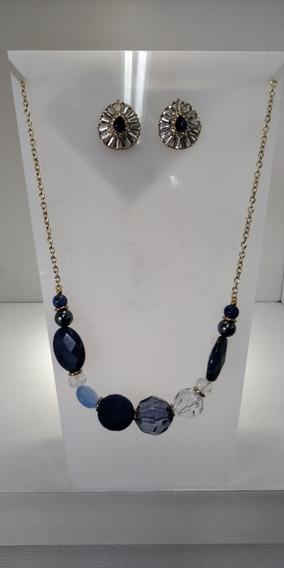 Conjunto Brinco Azul Com Prata + Colar Azul Contemporâneo