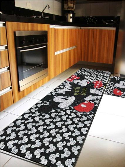 Tapete Para Cozinha Jogo 2 Peças Kit Mickey Minnie Cd4060