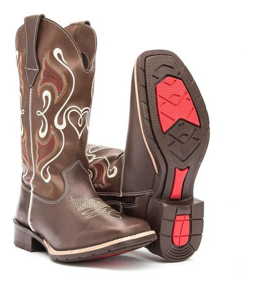Bota Feminina Country Texana Couro Bico Quadrado Promoção