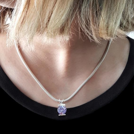 Corrente Prata 925 Feminina Círculo Púrpura