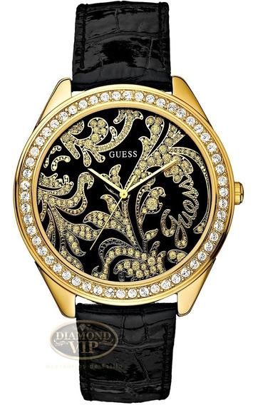 Relógio Guess Feminino Original Dourado Pulseira Couro Preto