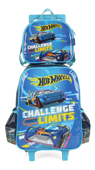 Kit Mochila Rodinha + Lancheira Hot Wheels Luxcel Original
