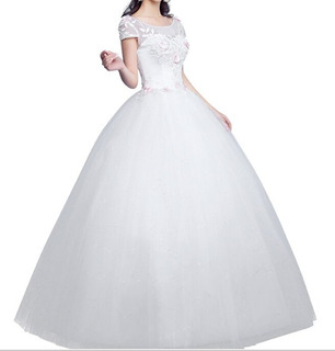 Nb38 Vestido De Noiva Debutante Barato Princesa Flores Rosa