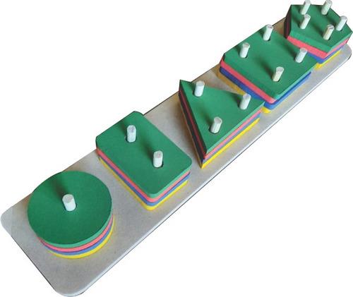 Jogo Encaixe Forma Geométrica Brinquedo Madeira Montessori