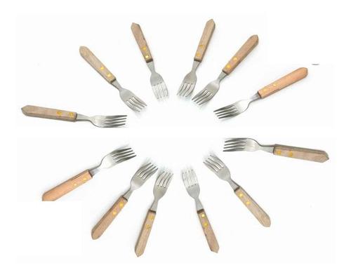 Imagen 1 de 5 de Juego 12 Tenedores Con Mango De Madera