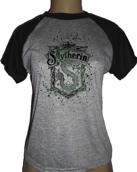 Camiseta Feminina Baby Look Harry Potter Sonserina Slytherin