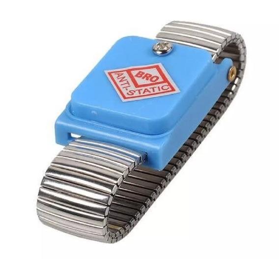 Pulseira Proteção Anti Estática Sem Fio Metálica - Azul