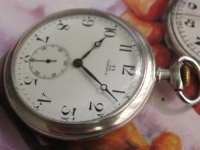 Relógio Omega De Bolso Prata Maciça Imaculado 12 Medalhas
