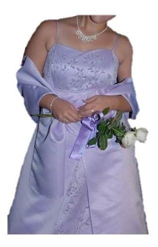 Vestido De 15 Largo Color Lila Importado De Eeuu + Chalina