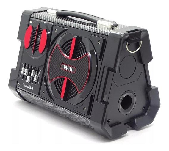 Radio Portatil Caixa Som Livstar 50w Bluetooth Fm Usb Sd