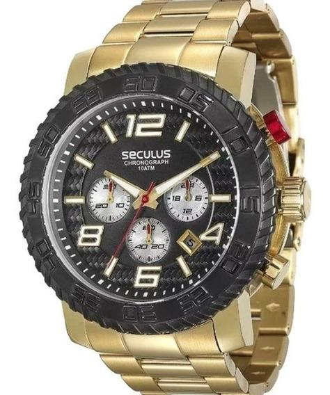 Relógio Masculino Dourado Seculus Prime28674gpsvda1