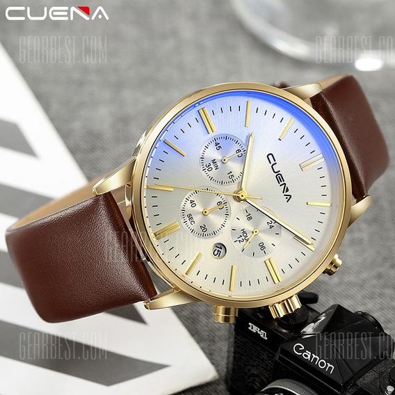 Relógio Masculino Cuena Couro Calendário Cronômetro Caixa