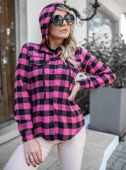 Camisa Feminina Xadrez Flanela Quente Capuz Com Cordinha