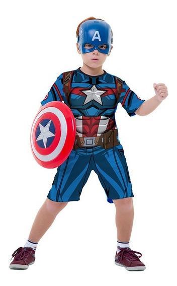 Roupa Capitão América C Escudo Vingadores Cosplay Avengers