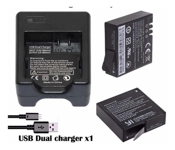 Kit Carregador Duplo + 2 Baterias Yi 4k Ou Yi Lite 1400mah