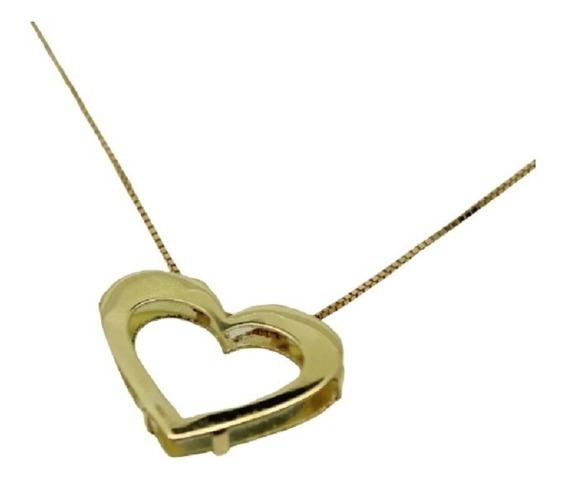 Corrente Feminina Pingente Coração Vazado Ouro 18k Jsp1461