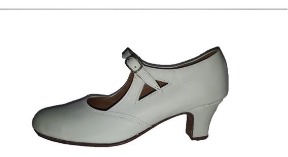 Zapatos De Danza Español Y Folklore En Cuero Blanco