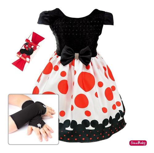 Imagem 1 de 7 de Vestido Infantil Minnie Vermelho Preto Baby Faixa Luva 1 A 4