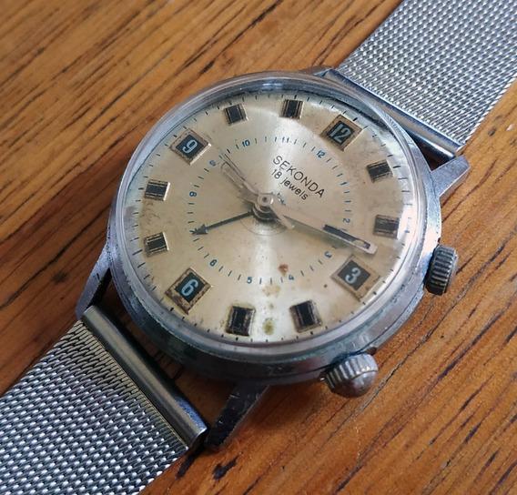 Relógio Sekonda 18 Jewels À Corda Com Alarme - Antigo Raro