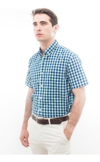 Camisa Poplin Legacy Cuadros Mangas Corta Hombre Lg6043cva