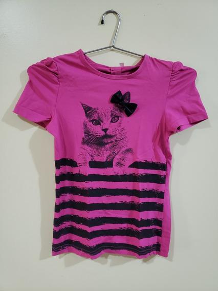Blusa Camiseta Infantil Rosa Pink Estampa Gato Laço