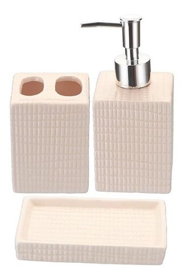 Kit/jogo Banheiro Porcelana 3 Peças Saboneteira Escova Dente