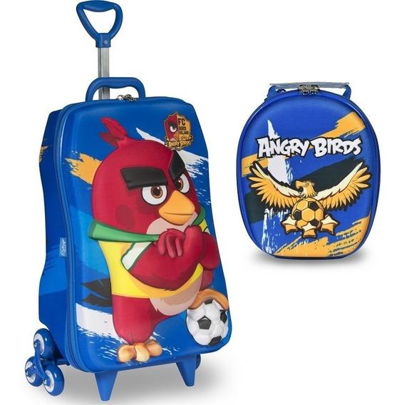 Mochila Escolar 3d Rodinhas E Lancheira Maxtoy Angry Birds