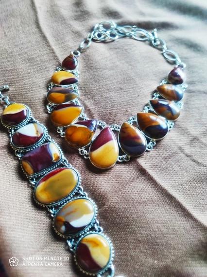 Belo Conjunto Colar E Bracelete Em Pedras Mookaite Australia