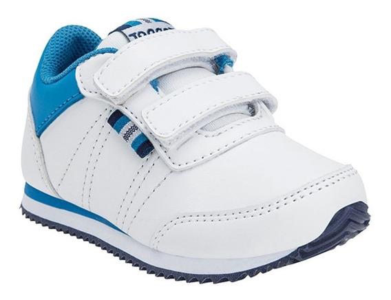 Zapatillas Topper Theo Cs Velcro Blanca/azu De Bebes